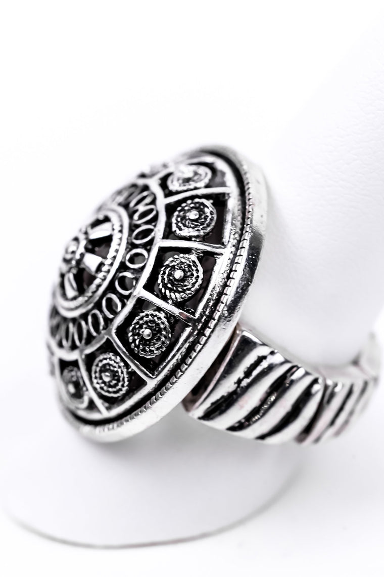 Silver Medallion Stretch Ring - RNG1021SI