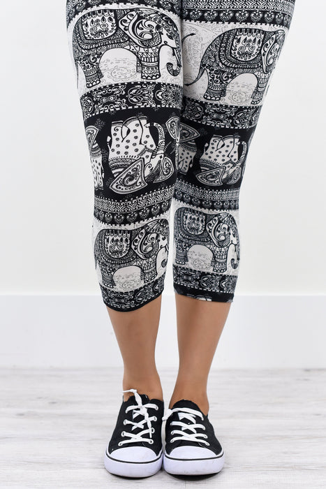 White/Black Capri Elephant Printed Leggings (Sizes 4-12) - LEG1135WB