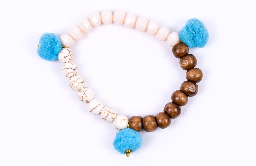 Wood/Cream Bead Stretch Bracelet With PomPoms - BRC772CR