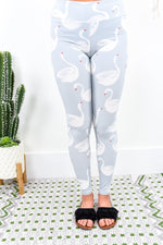 Light Gray Swan Wide Band Printed Leggings (Sizes 4-12) - LEG1792LGR