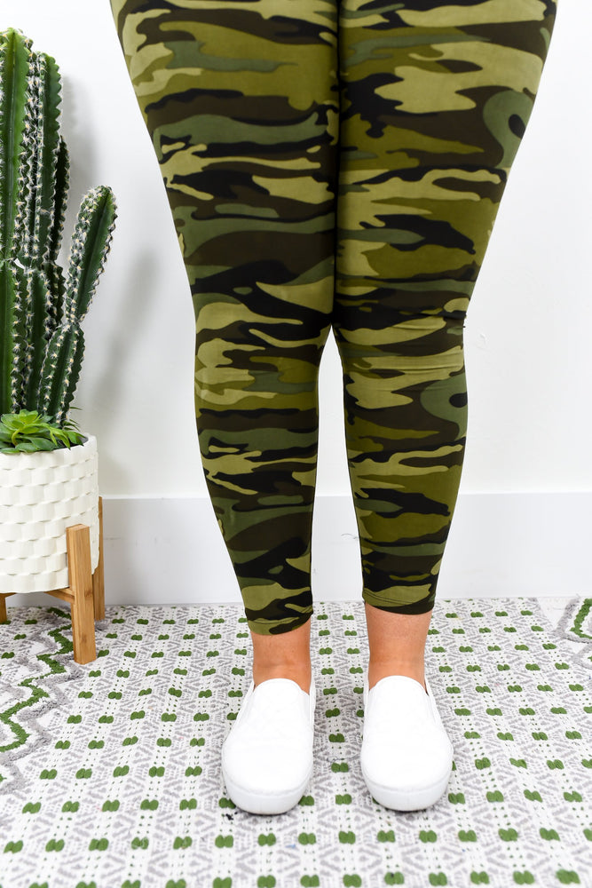 Army Green Camouflage Wide Band Printed Leggings (Sizes 12-18) - LEG1778CA
