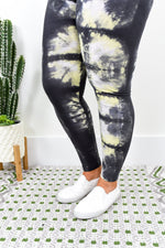 Charcoal Gray/Lime Green Printed Leggings (Sizes 20-26) - LEG1796CG