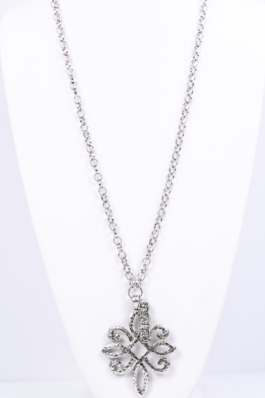Silver Faith Ornate Long Strand Necklace - NEK176SI