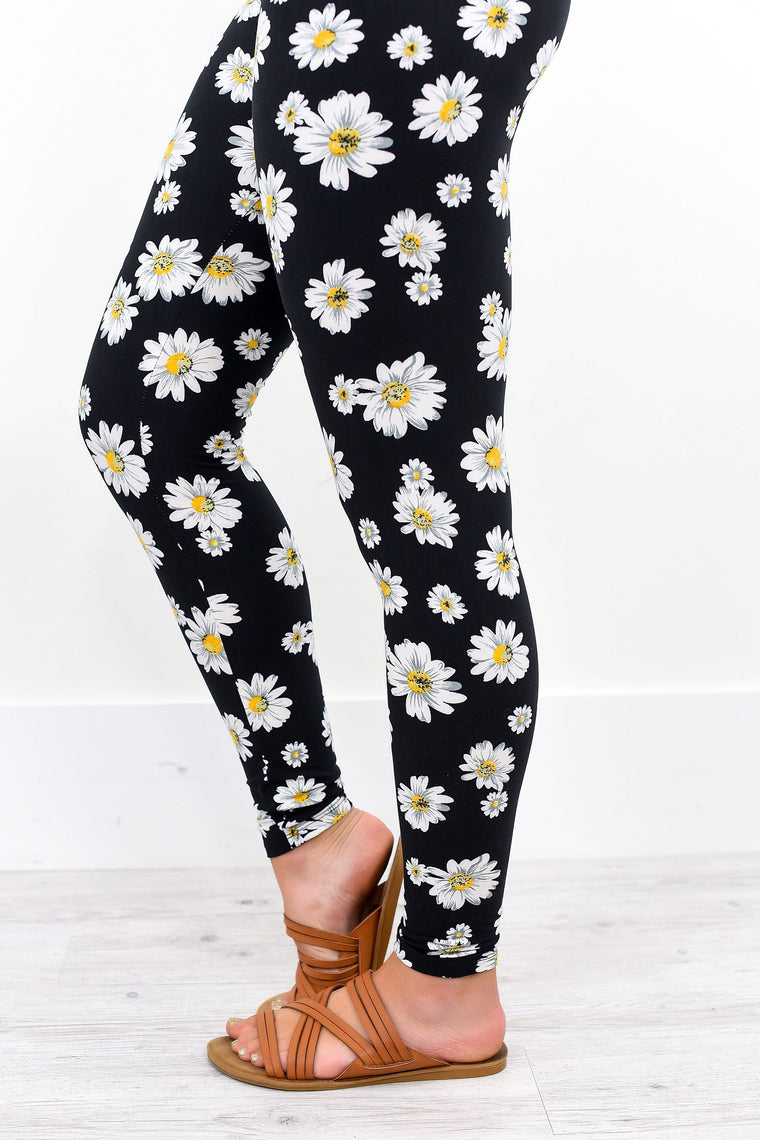 Black Floral Printed Leggings (Sizes 4-12) - LEG1835BK