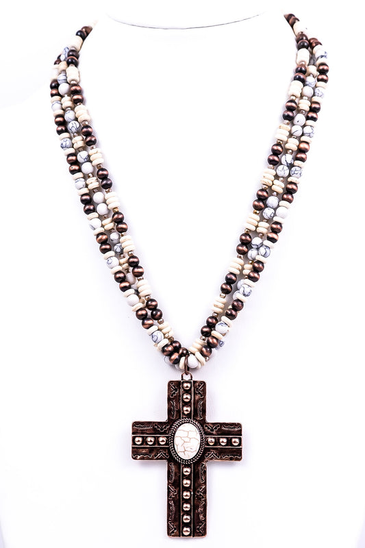 Copper Cross/Ivory Multi-Strand Beaded Necklace - NEK1760CP