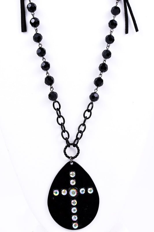 Black Teardrop Bling Cross/Black Beaded Necklace - NEK1719BK