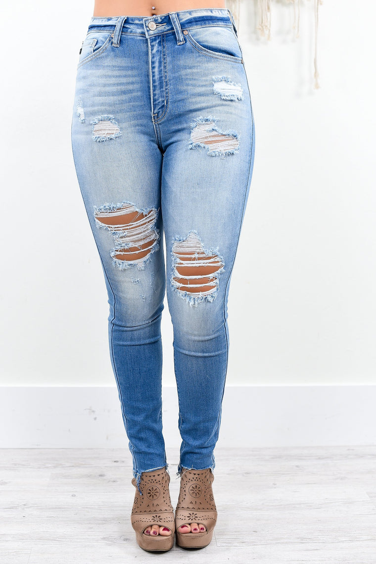 Breaking All The Rules Medium Denim Distressed Jeans - K204DN