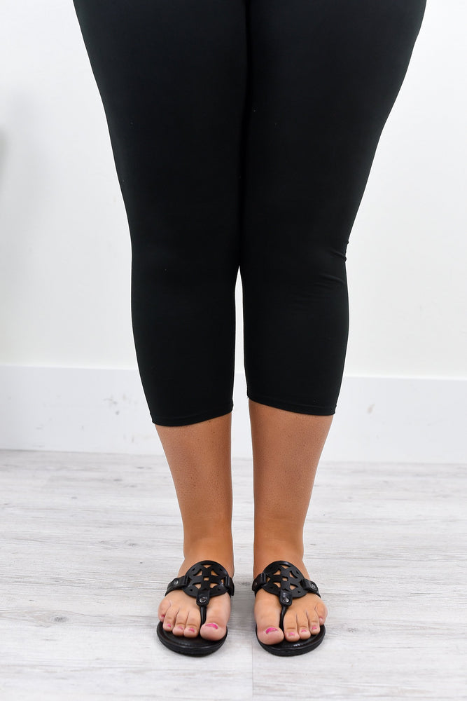 Black Wide Band Capri Solid Leggings (Sizes 12-18) - LEG1874BK