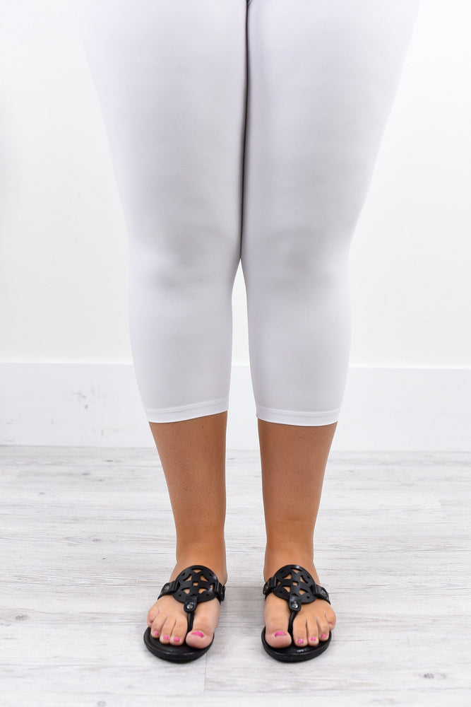 White Capri Solid Leggings (Sizes 20-26) - LEG1869WH