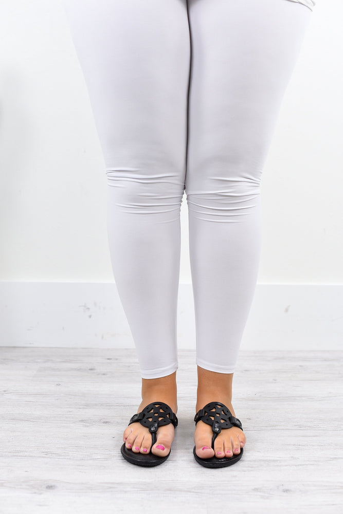 White Wide Band Solid Leggings (Sizes 12-18) - LEG1868WH