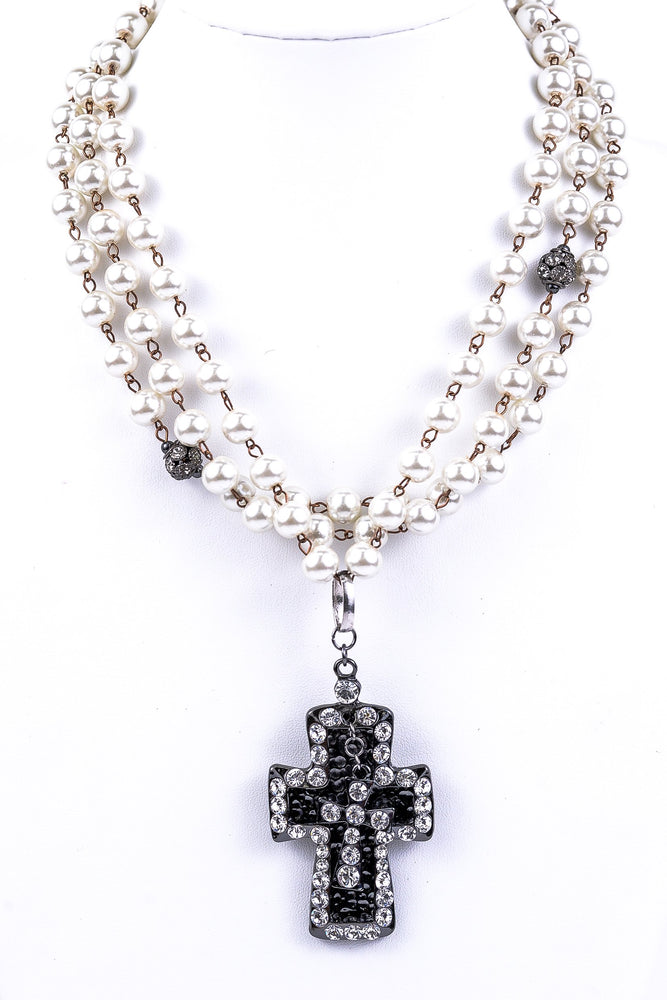 Triple-Strand Pearls With Bling Cross Pendant Necklace - NEK1639PR