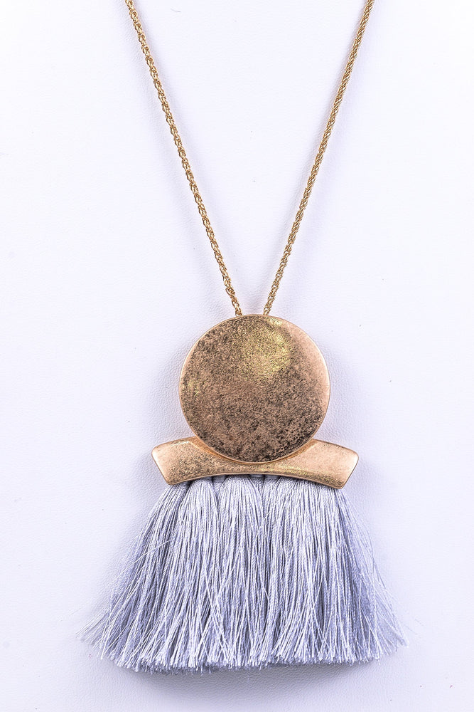 Light Gray Disk/Tassel Necklace - NEK1806LGR