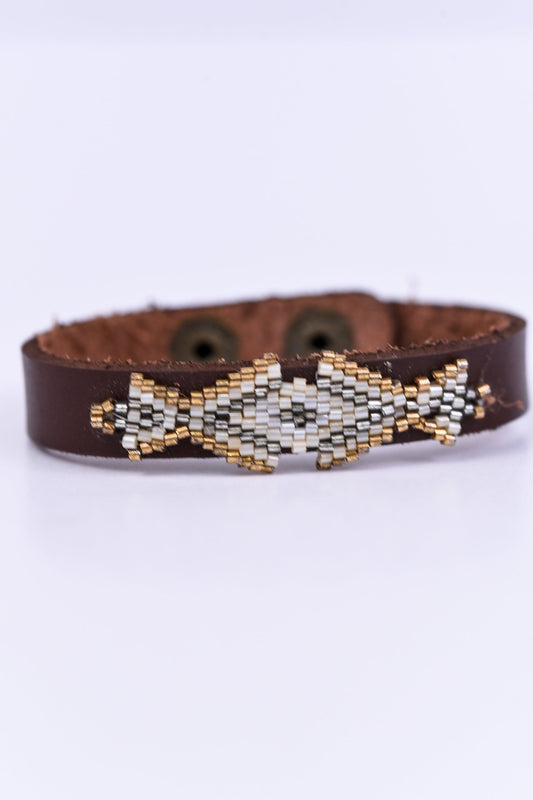 Brown/Beige Aztec Snap Closure Bracelet - BRC1507BR