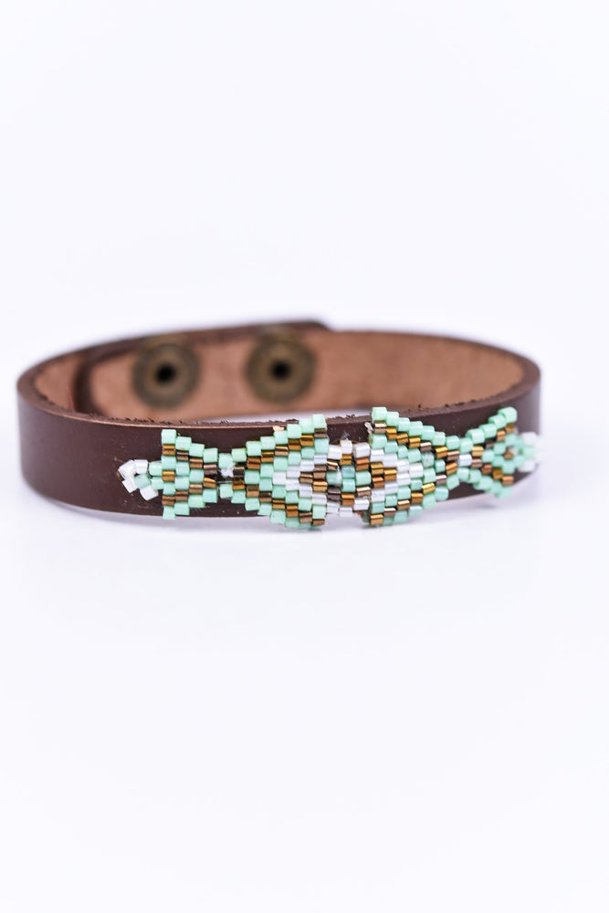 Mint/Beige Aztec Snap Closure Bracelet - BRC1514MT