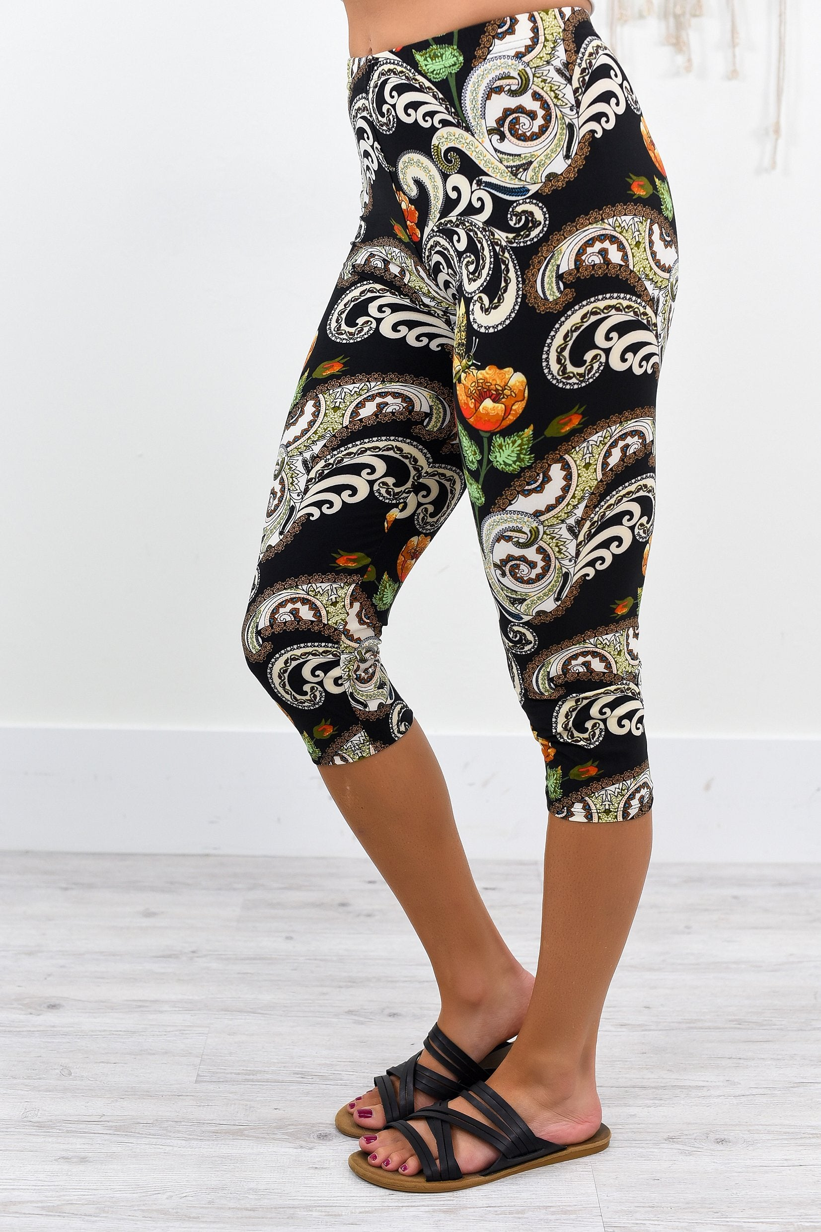 Black Paisley/Floral Capri Printed Leggings (Sizes 4-12) - LEG1904BK