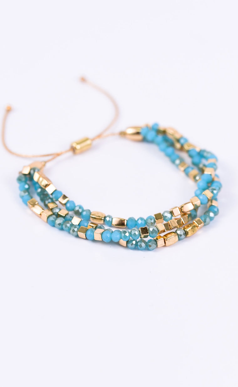 Blue/Gold Adjustable Pull Cord Bracelet - BRC1579BL