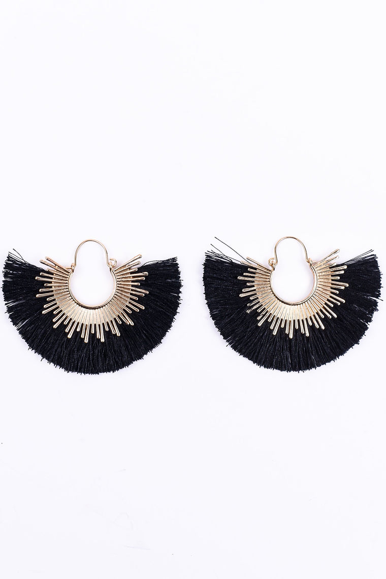 Gold/Black Fringe Earrings - EAR1549BK