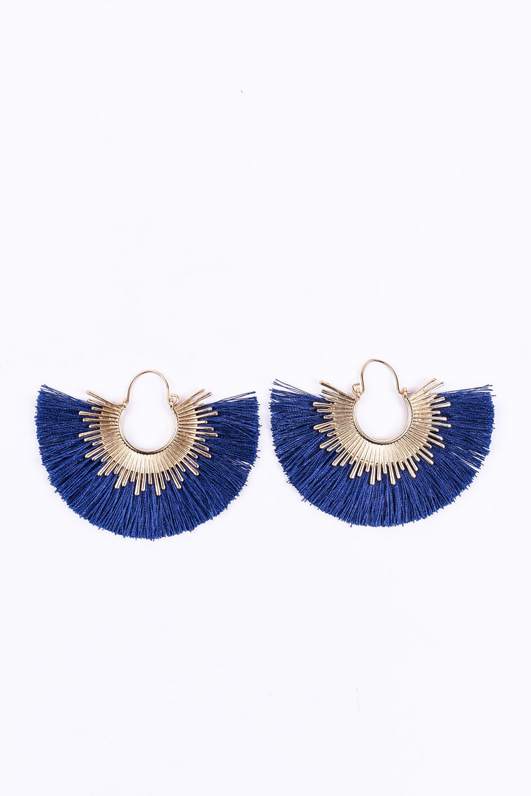 Gold/Navy Fringe Earrings - EAR1547NV