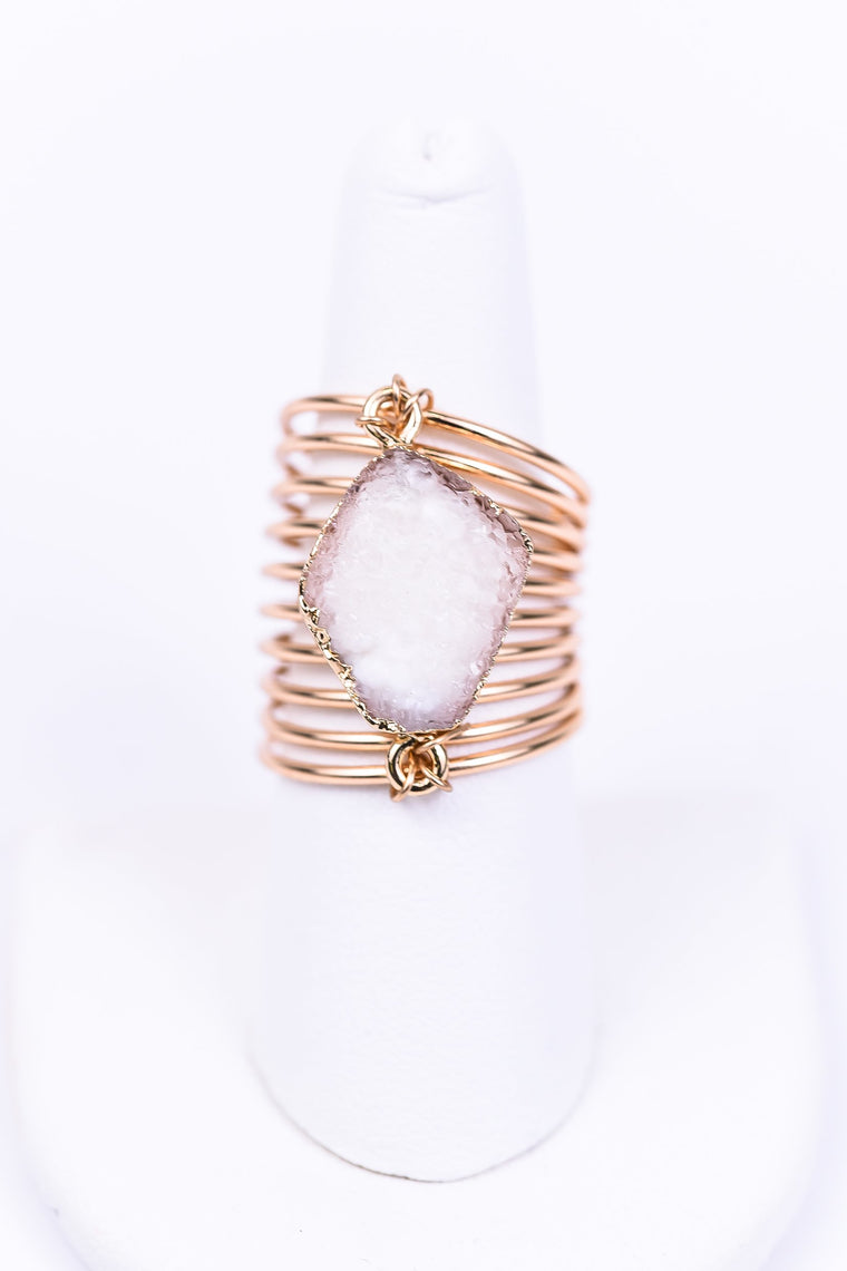 Gold/White Druzy Coil Ring - RNG1049WH
