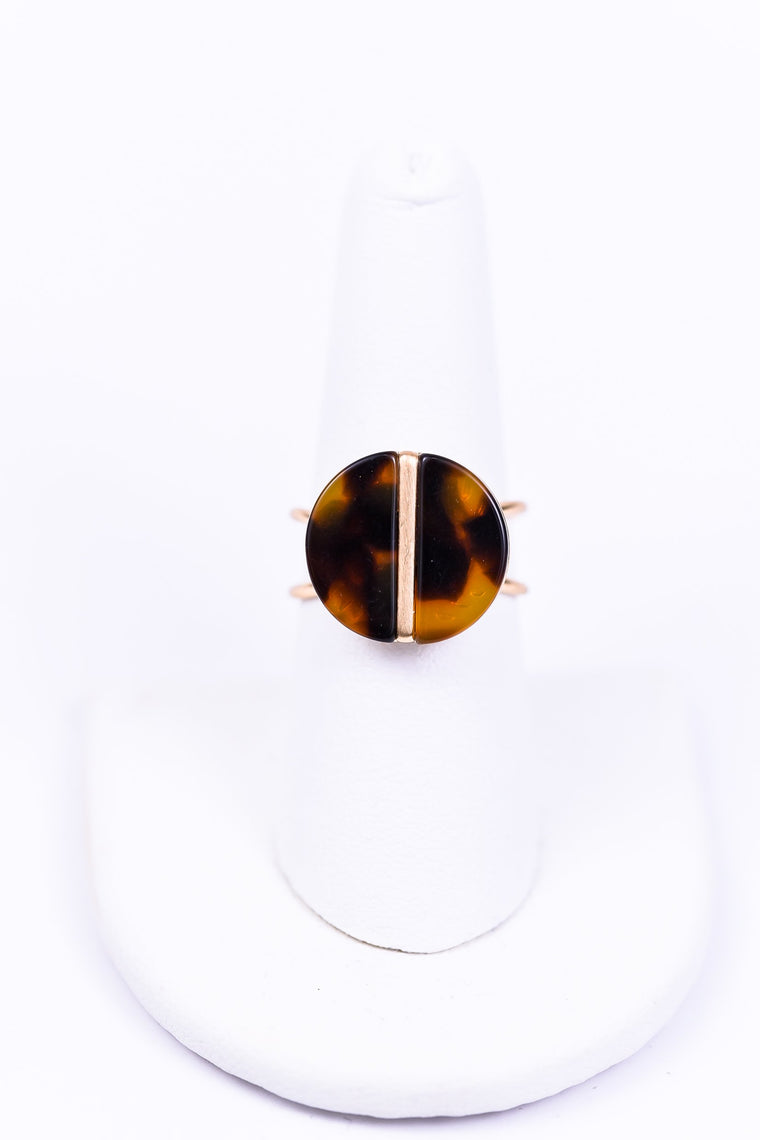 Gold/Tortoise Shell Adjustable Ring - RNG1050GO