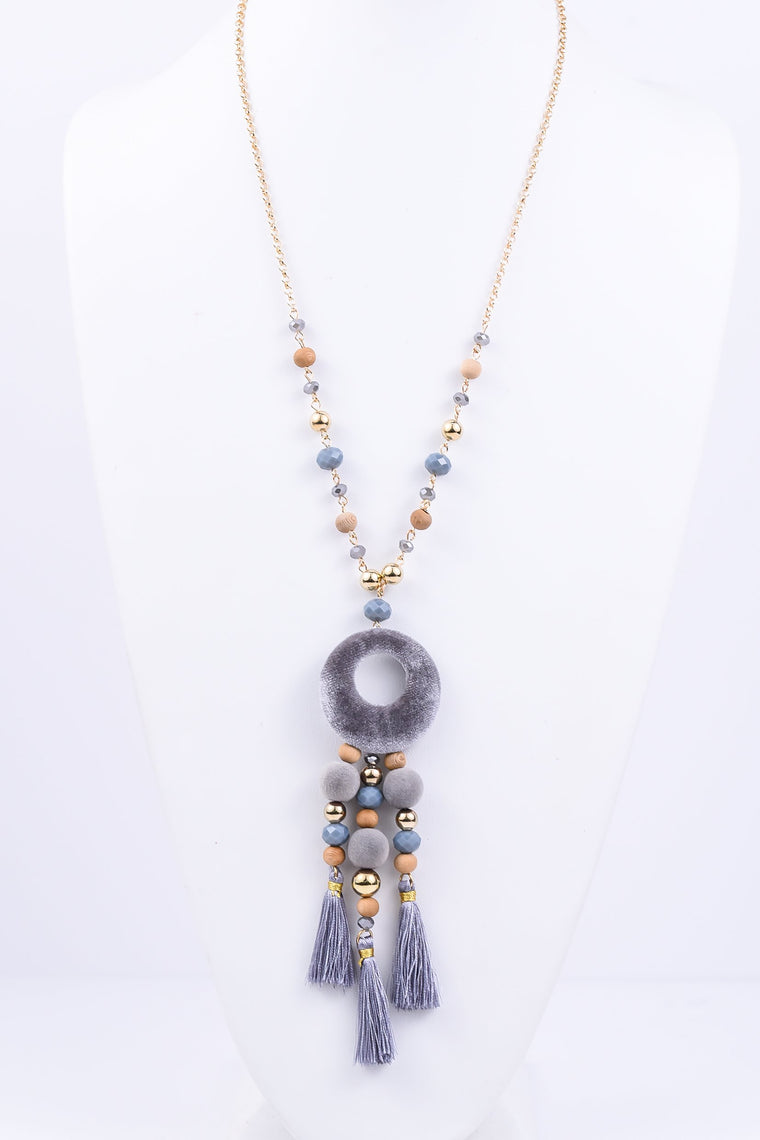 Gray/Gold Velvet Circle Beaded/Tassel Necklace - NEK1856GR