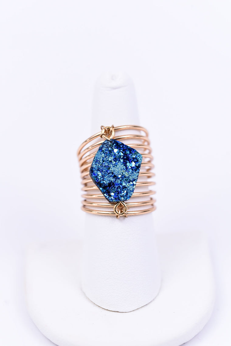 Gold/Blue Druzy Coil Ring - RNG1046BL