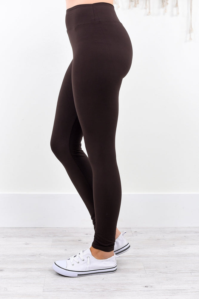 Brown Wide Band Solid Leggings (Sizes 4-12) - LEG1941BR