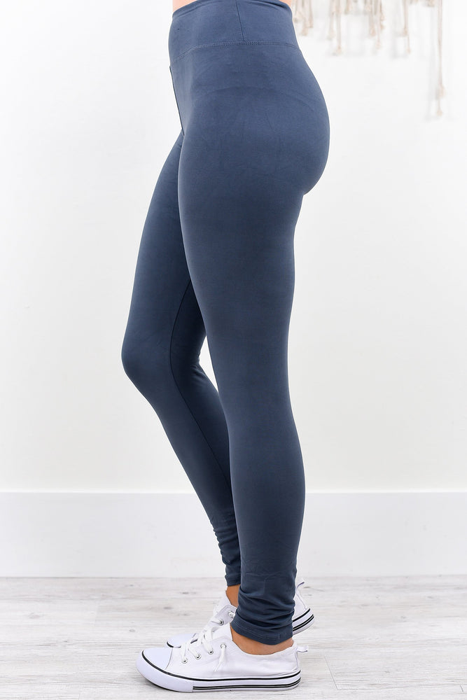 Charcoal Gray Solid Wide Band Leggings (Sizes 4-12) - LEG1943CG