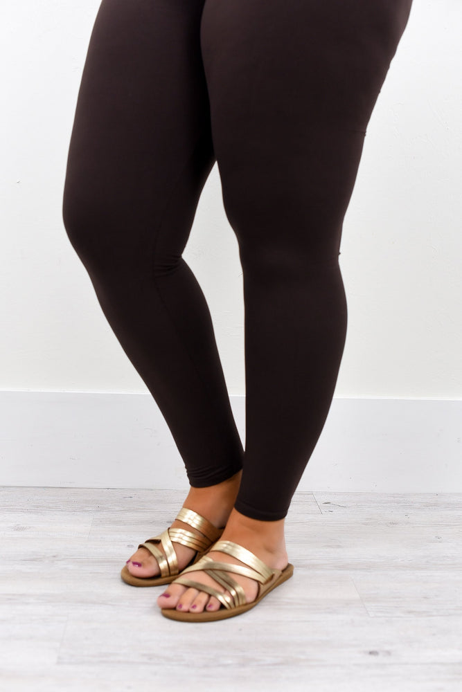 Brown Wide Band Solid Leggings (Sizes 12-18) - LEG1944BR