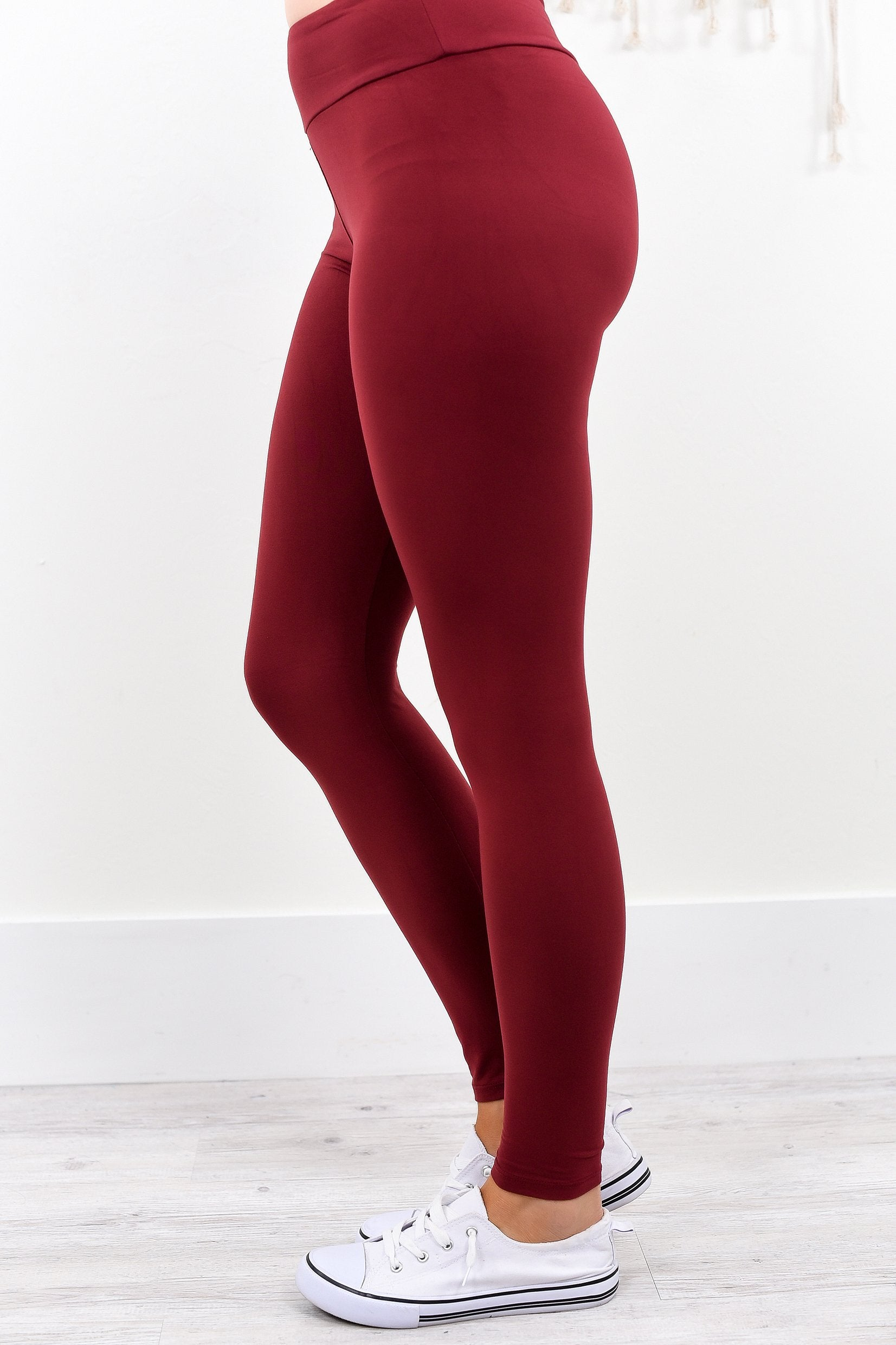 Burgundy Wide Band Solid Leggings (Sizes 4-12) - LEG1940BU