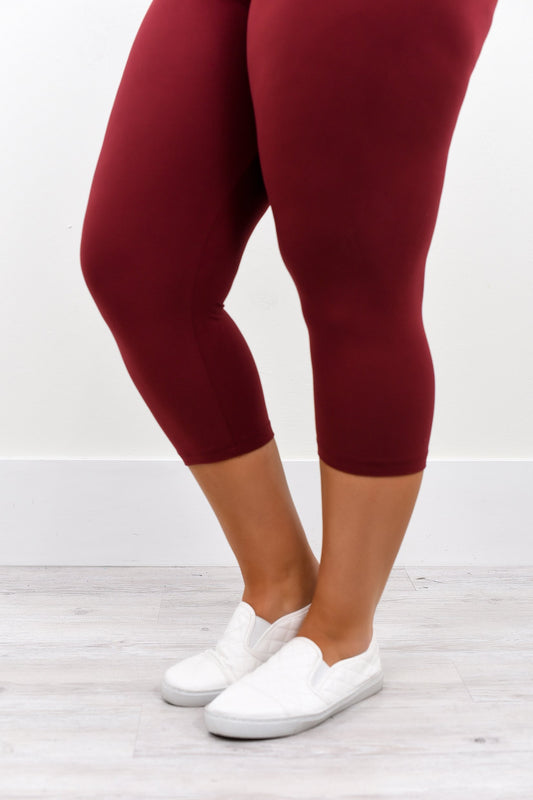 Burgundy Capri Solid Leggings (Sizes 20-26) - LEG1942BU