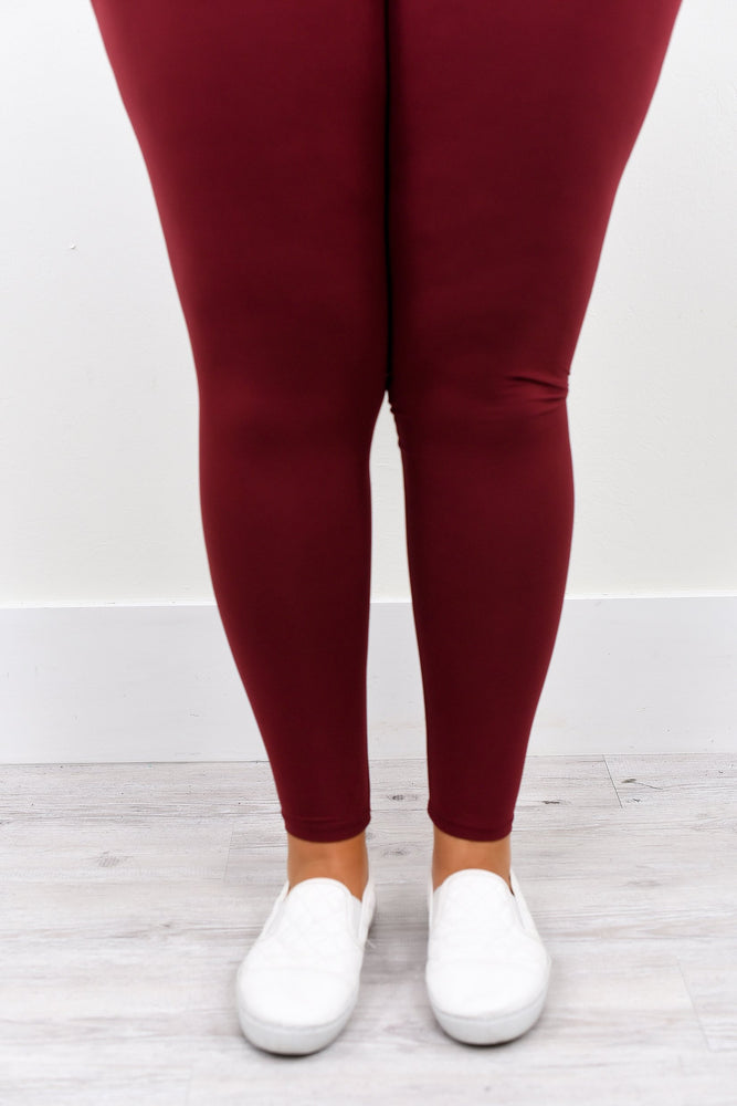 Burgundy Wide Band Solid Leggings (Sizes 12-18) - LEG1936BU