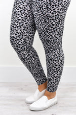 Gray/White/Black Leopard Printed Leggings (Sizes 20-26) - LEG1965GR