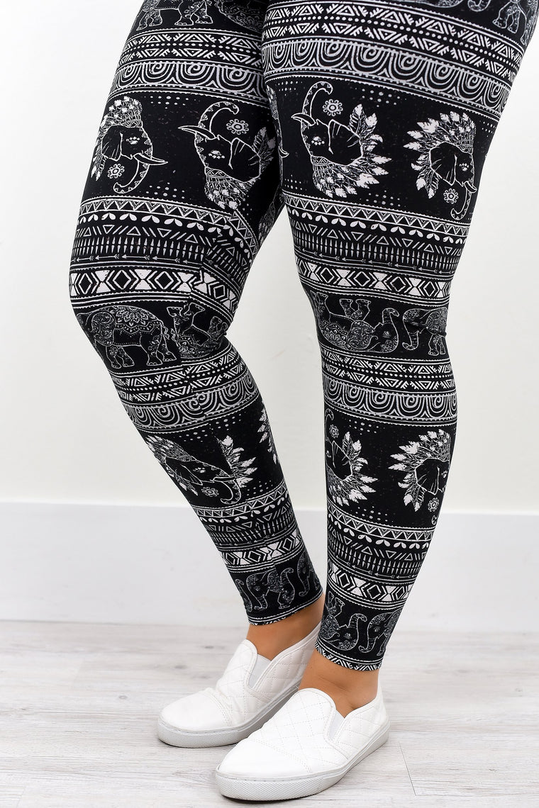 Black/White/Gray Elephant Printed Leggings (Sizes 12-18) - LEG1994BK