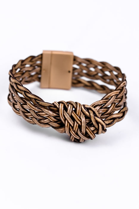 Brown Leather Braided/Knot Magnetic Closure Bracelet - BRC1604BR
