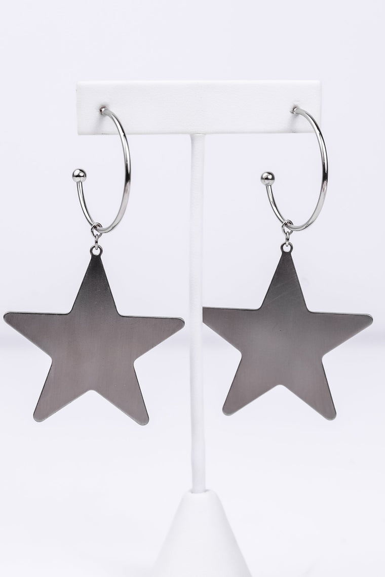 Silver Star Open Hoop Earrings - EAR1584SI
