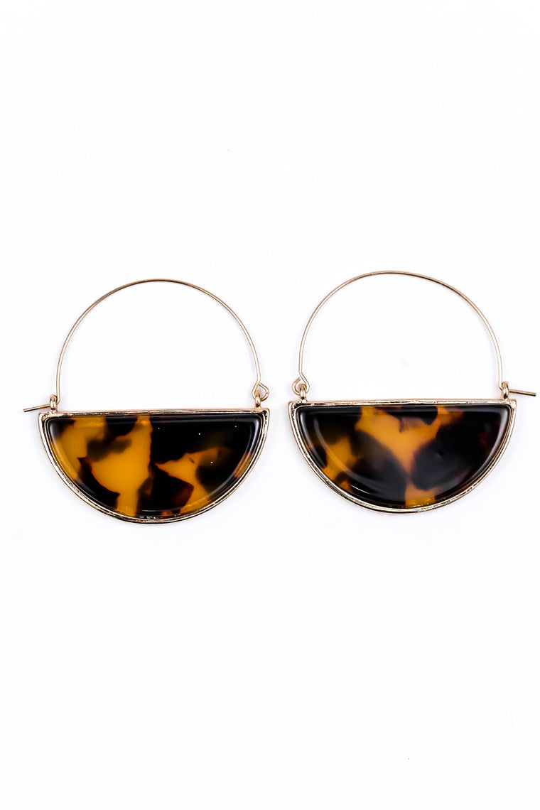 Gold/Brown Tortoise Half Circle Earrings - EAR1583GO