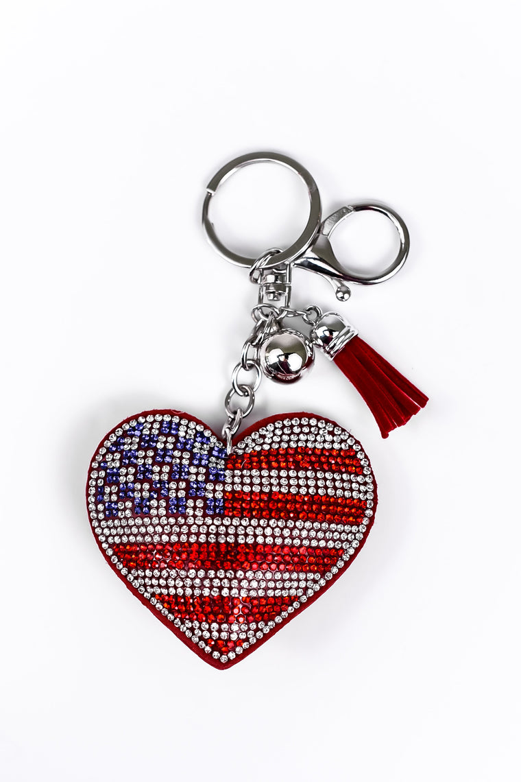 American Flag Heart Soft Crystal Keychain - KEY1042AM