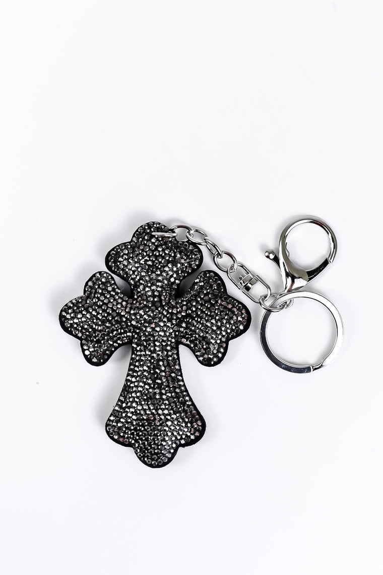 Gray/Black Soft Crystal Cross Keychain - KEY1045GR