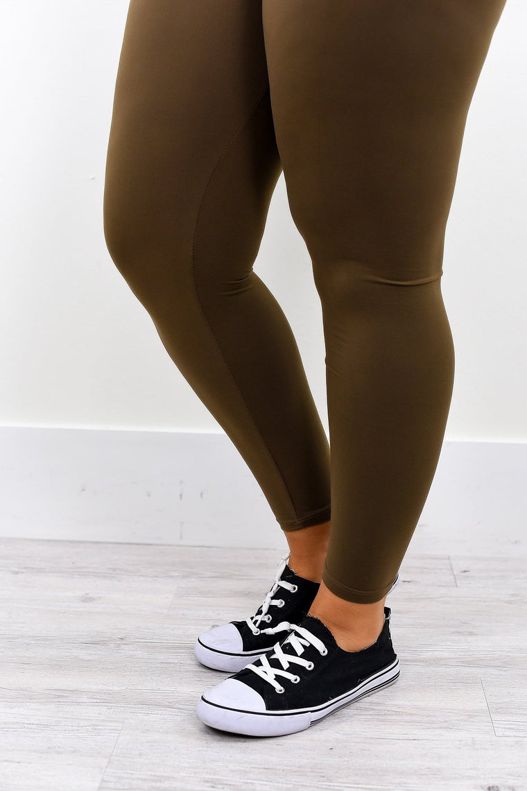 Mocha Wide Band Solid Leggings (Sizes 12-18) - LEG2007MO