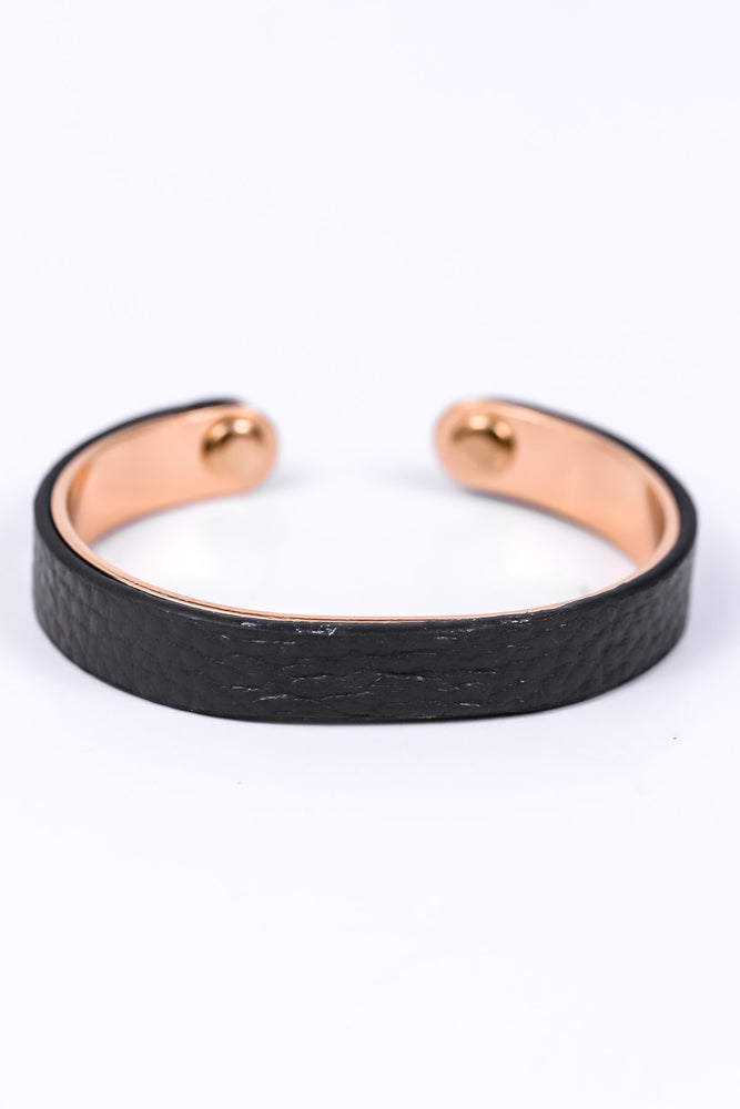 Dark Gray Leather/Brass Adjustable Cuff Bracelet - BRC1656GR