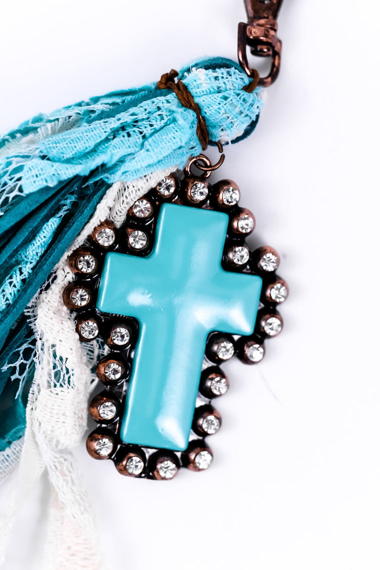 Turquoise Bling Cross Fabric Tassel Keychain - KEY1047TU