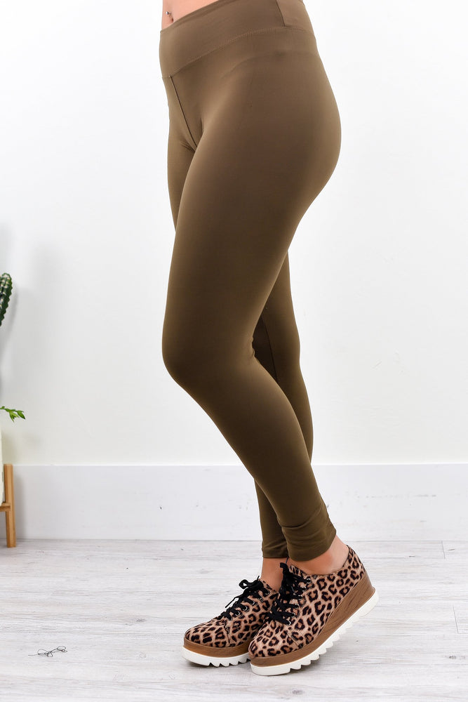 Mocha Wide Band Solid Leggings (Sizes 4-12) - LEG2008MO