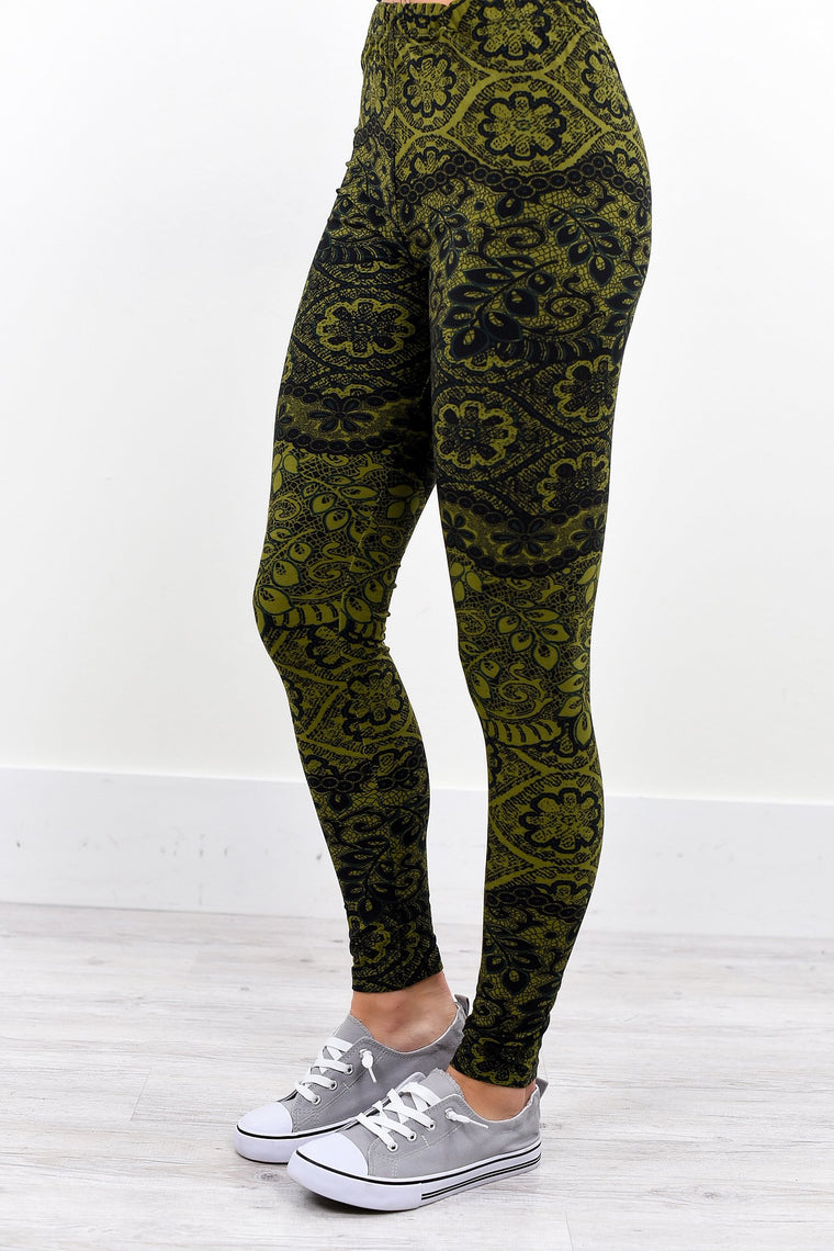Olive/Sage Floral Printed Leggings (Sizes 4-12) - LEG2034OL