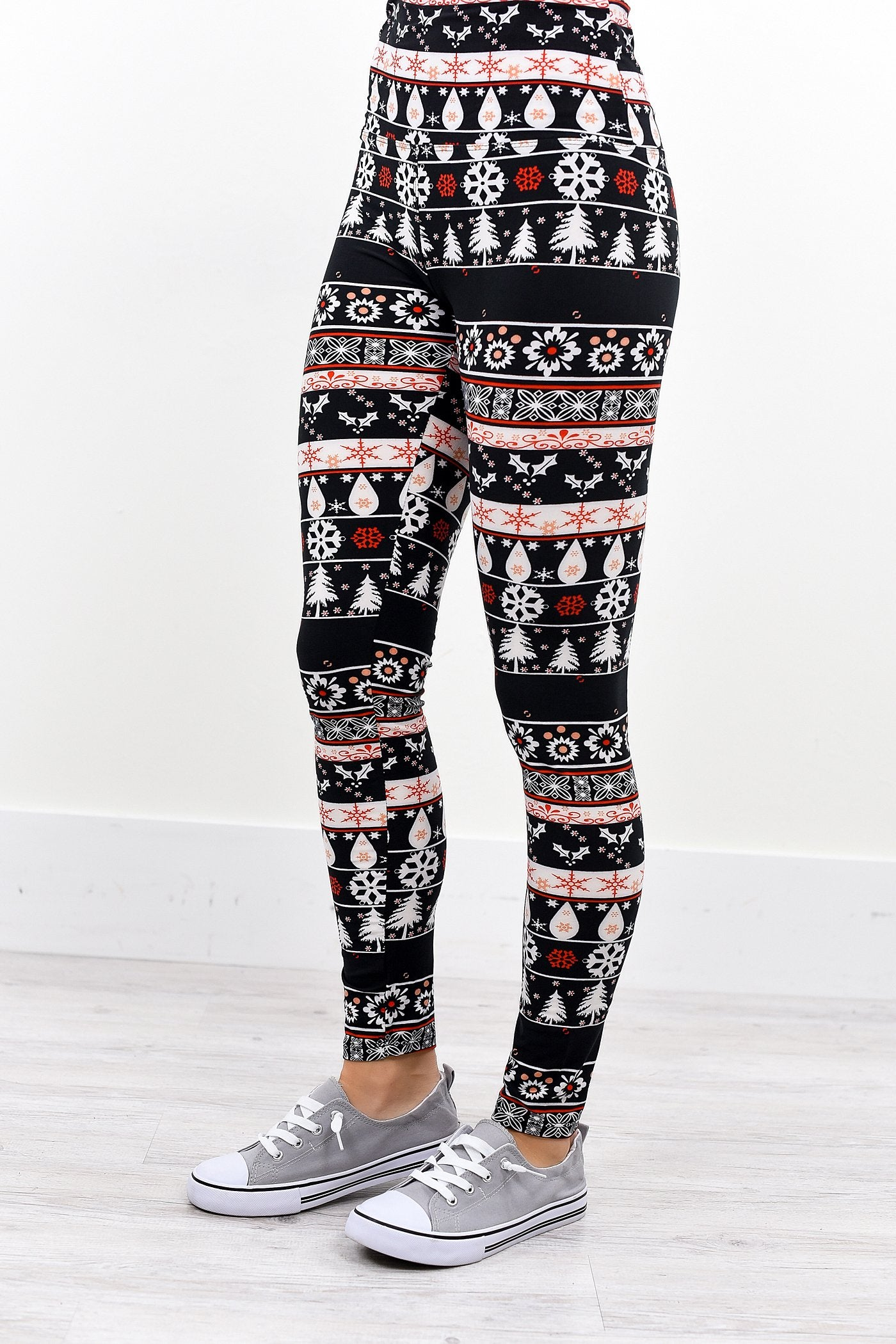 Black/White Snowflake/Multi Pattern Wide Band Printed Leggings (Sizes 4-12) - LEG2031BW