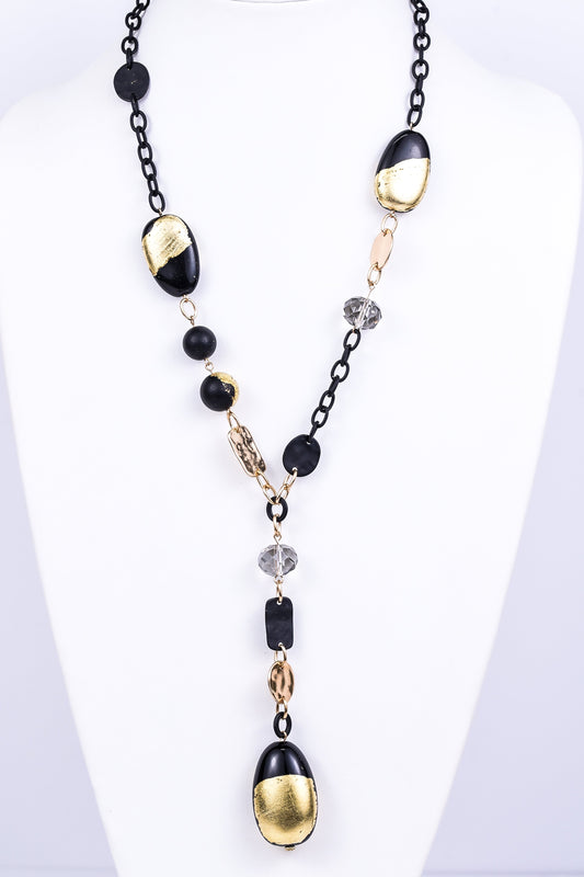 Black/Gold Painted Oval/Ball Y Necklace - NEK1956BK