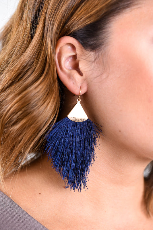 Navy/Gold Hammered Fringe Tassel Earrings - EAR1625NV