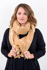 Taupe Plaid Blanket Scarf - SCA1015TA