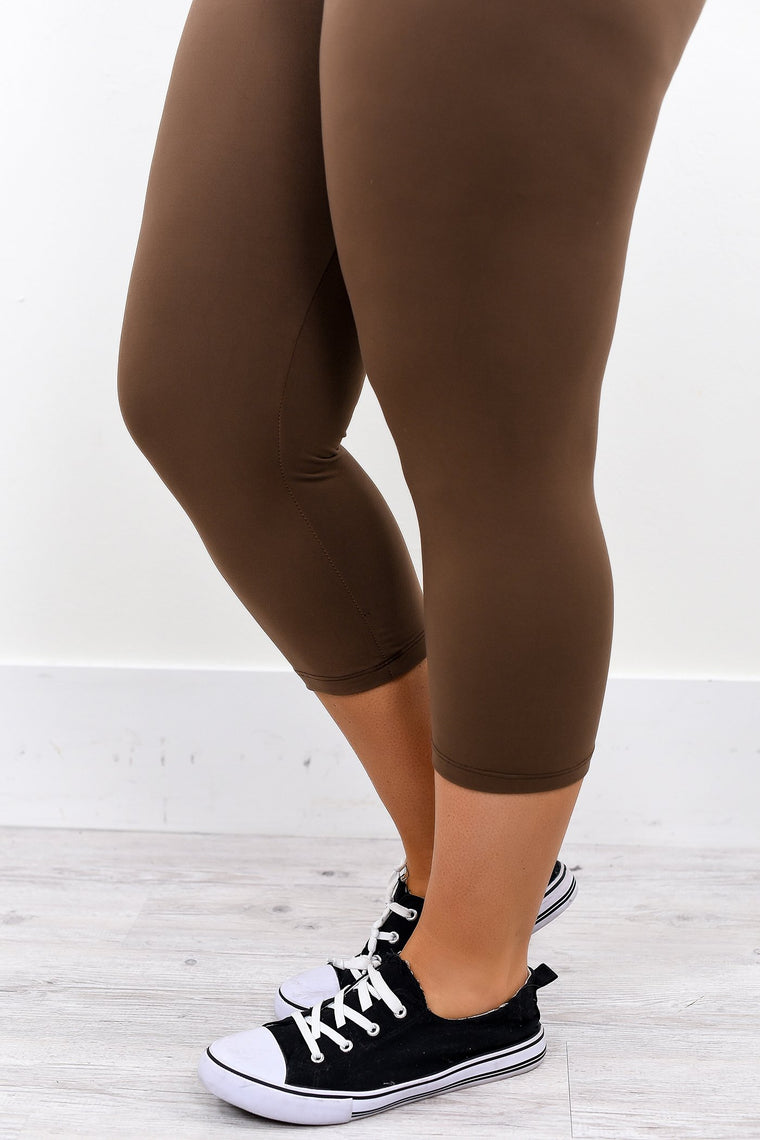 Mocha Solid Capri Leggings (Sizes 20-26) - LEG2009MO