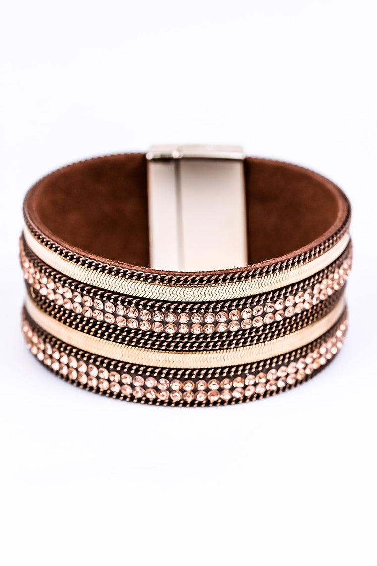Gold/Brown Bling Magnetic Closure Bracelet - BRC1685GO